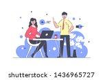 flat businessman and... | Shutterstock .eps vector #1436965727