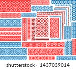 Set of 37 editable colorful seamless ethnic patterns for embroidery stitch. Floral and geometric ornaments.