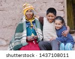 Native American Old Woman With...