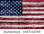 American Flag On Old Rustic...