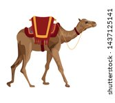 camel with saddlery icon... | Shutterstock .eps vector #1437125141