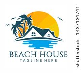 beach house logo design royalty ... | Shutterstock .eps vector #1437134741