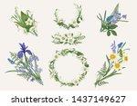 set with floral design elements....   Shutterstock .eps vector #1437149627