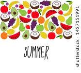 beautiful set of bright juicy...   Shutterstock . vector #1437151991