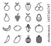fruit icon set with outline... | Shutterstock .eps vector #1437161747