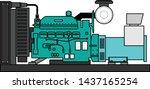 diesel engine generator simple... | Shutterstock .eps vector #1437165254