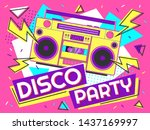 Disco Party Banner. Retro Musi...