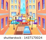 city crossroad with cars. road... | Shutterstock .eps vector #1437170024