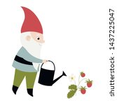 vector card with gnome watering ...   Shutterstock .eps vector #1437225047