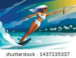 Young Female Water Skier Riding