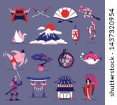 japan travel cartoon set of... | Shutterstock .eps vector #1437320954