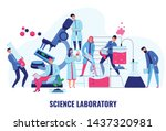 scientists making biological... | Shutterstock .eps vector #1437320981
