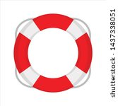 beach lifebuoy icon. flat... | Shutterstock .eps vector #1437338051