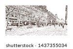 building view with landmark of... | Shutterstock .eps vector #1437355034