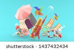 Squirt gun surrounded by umbrellas, rubber rings, beach chairs and turbines surrounded by colorful balls on a blue background.-3d rendering.