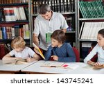 mature male librarian showing... | Shutterstock . vector #143745241