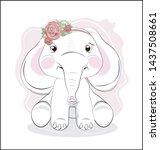 the lovely drawn baby elephant... | Shutterstock .eps vector #1437508661