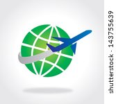icon of globe   aeroplane  ...