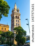 Clock tower of Messina Cathedral (Italian: Duomo di Messina) in Messina city, Sicily, Italy. Clock tower has the largest astronomical clock in the world
