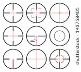 vector crosshairs set with red... | Shutterstock .eps vector #143758405