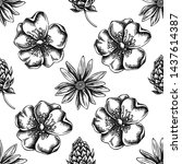 seamless pattern with black and ... | Shutterstock .eps vector #1437614387