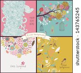 set of four floral backgrounds...   Shutterstock .eps vector #143765245
