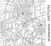 black and white spider net... | Shutterstock . vector #143771701