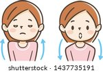 young woman taking a deep breath | Shutterstock .eps vector #1437735191