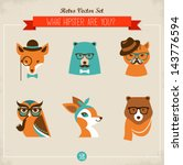 cute fashion hipster animals  ... | Shutterstock .eps vector #143776594