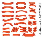 orange ribbon set   isolated on ... | Shutterstock .eps vector #1437873401