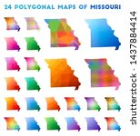 set of vector polygonal maps of ... | Shutterstock .eps vector #1437884414