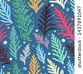 seamless pattern with branches... | Shutterstock .eps vector #1437891047