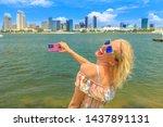 Blonde Happy Tourist Takes...