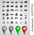 travel icon set with pins eps10 | Shutterstock .eps vector #143797921