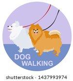 Stock vector walking a dogs flat stile dog walking logo template 1437993974