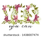 word yes made of watercolor... | Shutterstock . vector #1438007474