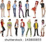 group of fashion cartoon young... | Shutterstock .eps vector #143800855