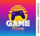 game room logo. retro game sign.... | Shutterstock .eps vector #1438032221