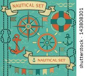 collection of nautical symbols. ... | Shutterstock .eps vector #143808301