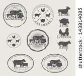 a set of labels for butchery.... | Shutterstock .eps vector #143814085