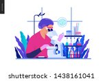medical tests blue illustration ... | Shutterstock .eps vector #1438161041