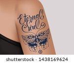 butterfly tattoo on female...   Shutterstock .eps vector #1438169624