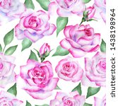 seamless floral pattern with... | Shutterstock . vector #1438198964