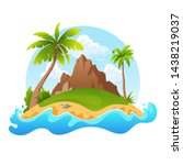 tropical island with mountain... | Shutterstock .eps vector #1438219037