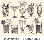 hand drawn cocktails. sketch... | Shutterstock .eps vector #1438246871