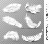 realistic white feathers. birds ... | Shutterstock .eps vector #1438247114