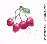 cherry bunch watercolor illustraton. Free painted and hand grapic style, liquid splashes