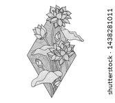 lotus flower illustration ... | Shutterstock .eps vector #1438281011
