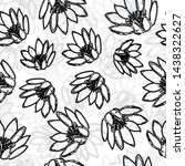water lily pattern hand drawn... | Shutterstock . vector #1438322627