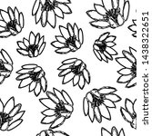 water lily pattern hand drawn... | Shutterstock . vector #1438322651